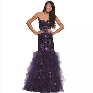 NWT Jovani purple mermaid dress sz 14